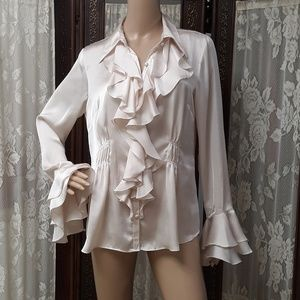 CAbi Classy Silky Cream Blouse Double Bell Sleeve